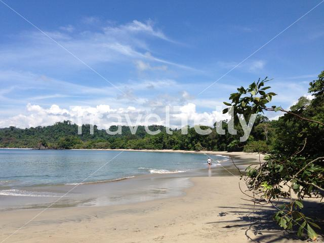Man walks at the beach in manuel antonio national park Costa Rica