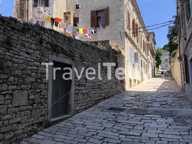 Tourists in the old town of Pula, Croatia