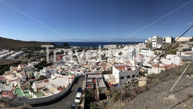 Panorama aerial view over Agaete Gran Canaria Canary Islands Spain