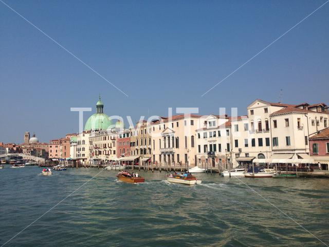 Canal in front of the railway station in Venice Italy