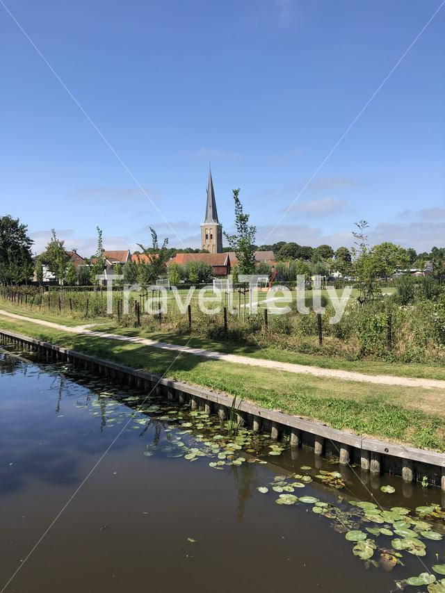 Canal with seeblatt in Tzum, Friesland The Netherlands