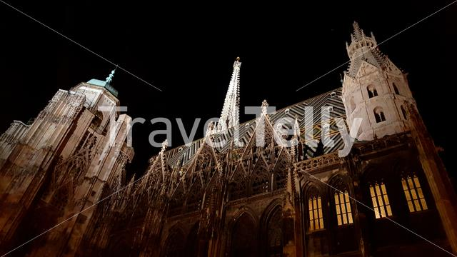 St. Stephen's Cathedral at night in Vienna, Austria