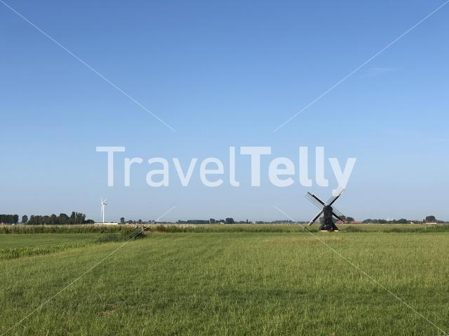 Windmills around Easterlittens in Friesland The Netherlands