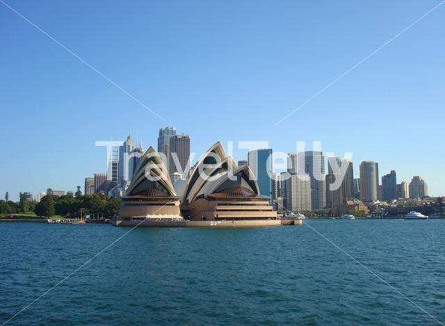 Sydney Opera House and skyline view from a ferry