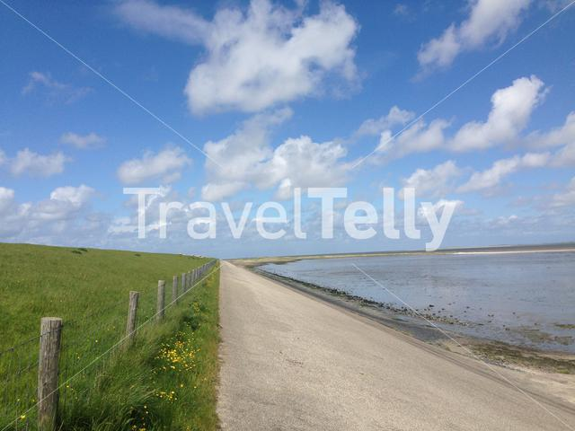 A dike and the coast in Texel The Netherlands