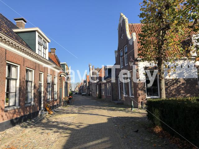 Street in Hindeloopen during autumn in Friesland, The Netherlands