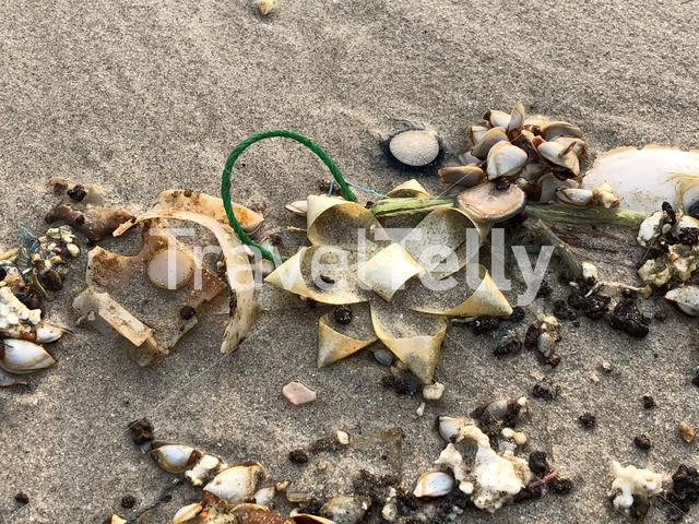 Pollution on Ao Phrao beach at Koh Samet island in Thailand