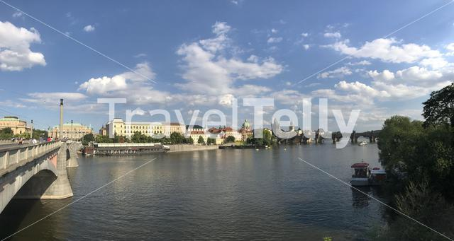 Panorama from the vltava river and charles bridge in Prague Czech Republic