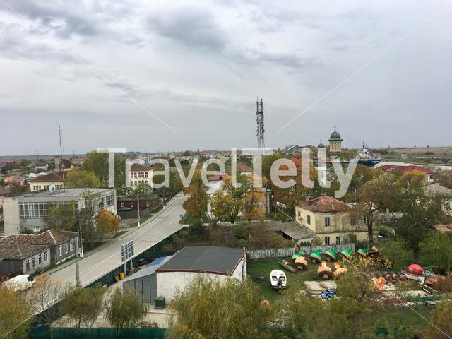 View from the light house over Sulina and the Danube Delta in Romania