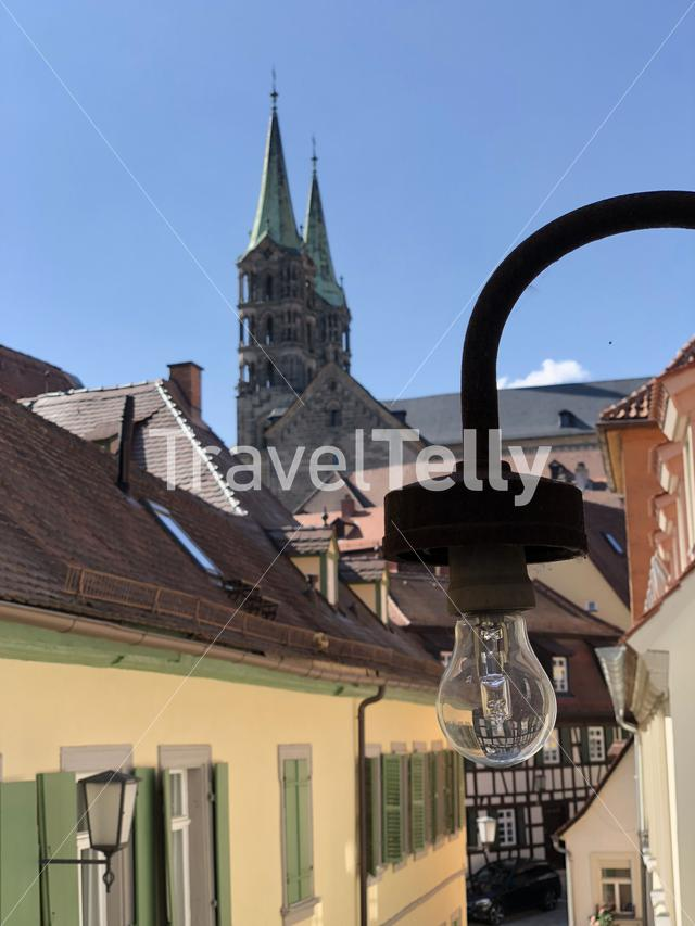 Lantern in the old town with the Bamberg Cathedral in the background in Bamberg Germany