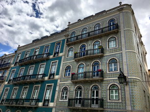 Colorfully decorated buildings in the center of Lisbon (Bairro Alto), Portugal.