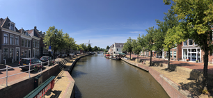 Panorama from the canal Klein Diep in Dokkum, Friesland The Netherlands