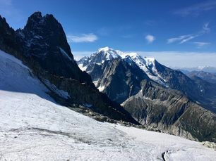 The Mont Blanc as seen from Les Grands Montets in the French Alps.