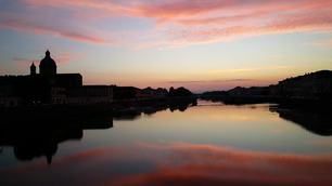 Sunset from Ponte Alla Carraira in Florence Italy