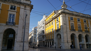 Building at the corner of Commerce Square in Lisbon
