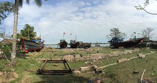 Shipyard with a traditional fishing boats in Hoi An Vietnam