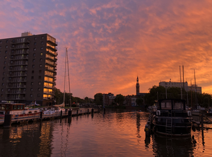Sunset in the Oosterhaven, Groningen The Netherlands