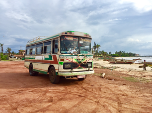 Old bus next to Negombo beach in Sri Lanka
