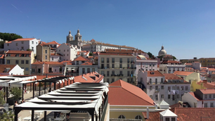 Lisbon city view from Miradouro das Portas do Sol (Observation deck) in Portugal