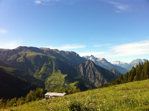 French Alps landscape with the Le Schuss accommodation in France