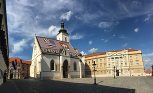 Panorama from the St. Mark's Church in the old town of Zagreb Croatia
