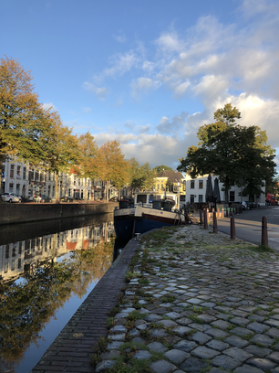 Canal during autumn in Groningen The Netherlands