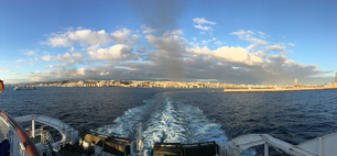 Panorama from the ferry leaving Las Palmas Gran Canaria
