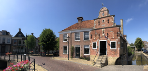 Panorama from the Korendragershuisje and canal in Franeker, Friesland The Netherlands