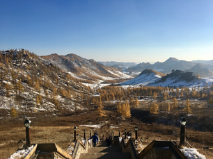Winter landscape view from the stairs towards the Buddhist Monastery in Mongolia