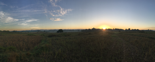 Panorama from sunrise at farmland in Angat, Bulacan, Philippines