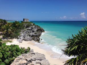 Tulum Ruins the 13th-century, walled Mayan archaeological site at Tulum National Park Mexico