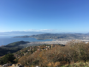 Looking over Volos from Portaria in Greece