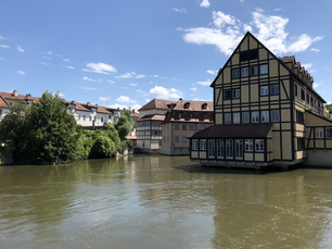 Timber frame houses in the old town of Bamberg Germany