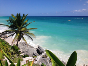 Overlooking the Caribbean Sea from ancient Mayan city Tulum Ruins in Mexico