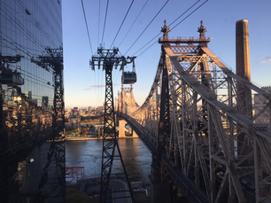 View from Roosevelt Island Tramway over the East River in New York City