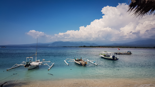 Bleu sea, white beach at Indonesia, Gili Air