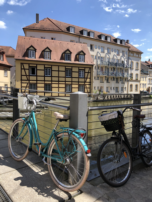 Bicycles and timber frame houses in the old town of Bamberg Germany