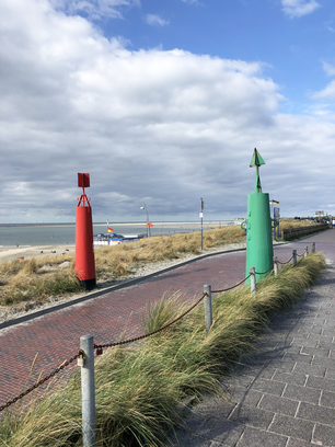 Boulevard and the beach on Borkum island in Germany