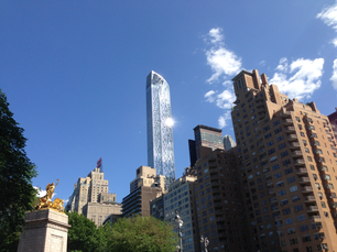 Skyscrapers from Columbus Circle with USS Maine Monument in New York City