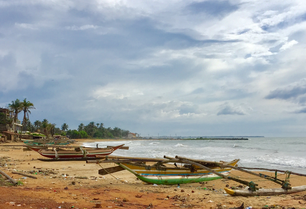 Dugout catamaran boats at Negombo beach in Sri Lanka