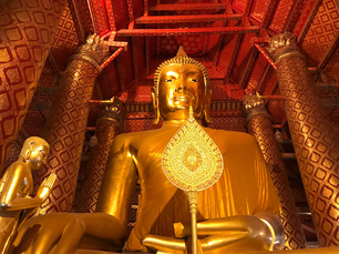 Buddha statue Luang Pho Tho at Wat Phanan Choeng a Buddhist temple in the city of Ayutthaya, Thailand