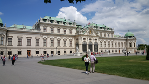 People walking in front of Belvedere Palace