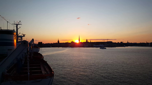 Stockholm Sweden sunset from a old cruise ship
