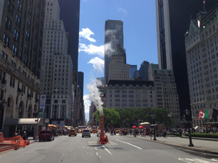Road work close to Central Park in New York City