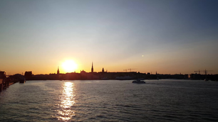 Sunset from Gamla stan in Stockholm Sweden