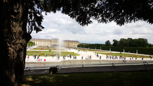 Tourism in front of Schonbrunn Palace in Vienna