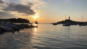 Sunset time lapse from the croatian fishing port Rovinj in Croatia