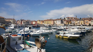 Harbor of Rovinj town, Croatia
