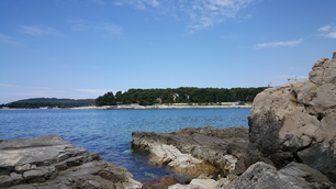 View over sea with rocks at Pula, Croatia