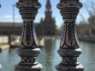 Painted banisters at Plaza de Espana in Seville Spain